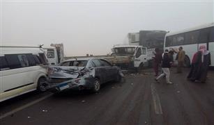 3 حوادث تصادم سيارات على الطرق السريعة واعادة فتح طريقى الكريمات واﻻسكندرية الصحراوى.