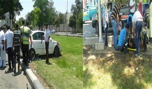 انقلاب سيارة أمام الكلية الحربية بمحور صلاح سالم وإصابة شخصين