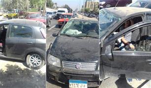 حادث تصادم بين ٣سيارات اوقف الحركة بنهاية محور المشير .