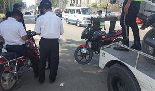 بالصور بعد هجوم البدرشين .. أمن القاهرة يشن حملة على  الدراجات النارية المخالفة