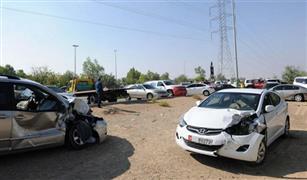 كثافات مرورية عالية على محور المشير بسبب تصادم سيارتين