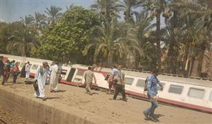سقوط ثلاث عربات قطار  بمحطة المرازيق