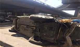 سقوط سيارة ملاكى من اعلى كوبرى التونسى ومصرع شخص