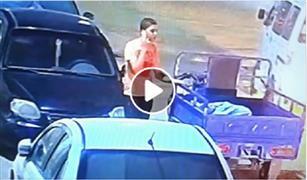 شاهد.. سرقة بطارية سيارة في لمح البصر بالجيزة