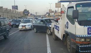 الحالة المرورية:تصادم سيارتين بمحور المشير طنطاوى.