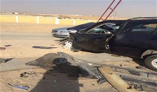 الحالة المرورية: تصادم بين سيارتين ملاكى على طريق السويس الصحراوى.