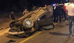 إصابة ٢٥ شخصا فى حادثى تصادم وانقلاب سيارة نقل محملة بالبيض على الدائرى الأقليمي