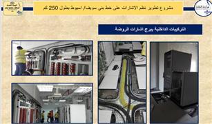 """بدء التشغيل التجريبي لبرج اشارات الروضة والتقاطر مع """"أبوقرقاص"""" بمسافة 20كم"""