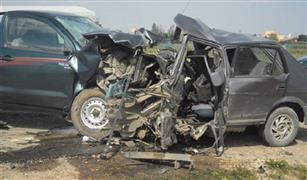 مصرع شخصين واصابة ١٠ اخرين في تصادم ٤ سيارات بالمنيا .