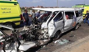 الحالة المرورية: تصادم ميكروباص ونقل على الدائرى وانقلاب سيارة على حصراوى المنيا .