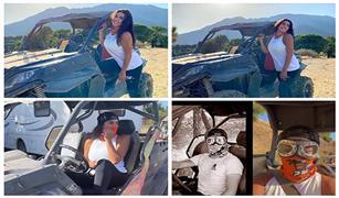 شاهد.. مغامرة ياسمين صبري وشقيقها داخل سيارة الجبال بإسبانيا